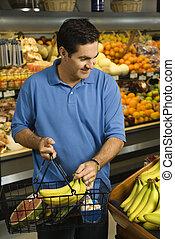tienda de comestibles, shopping., hombre