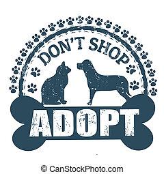 tienda, estampilla, adoptar, haga no