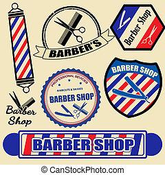 tienda, etiquetas, conjunto, peluquero, sellos