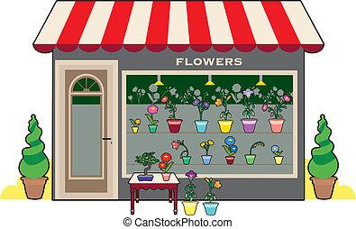 tienda, flor