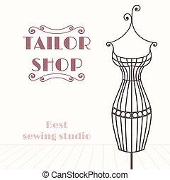 tienda, hierro, vendimia, mannequin., sastre, plano de fondo