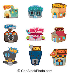 tienda, iconos, casa, /, colección, caricatura