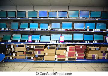 tienda, líquido, estante, cristal, exhibiciones, electrónica, monitores