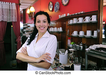 tienda, orgulloso, confiado, pastel, cafe/, dueño