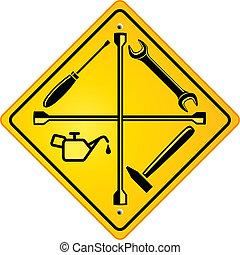 tienda, reparación coche, señal