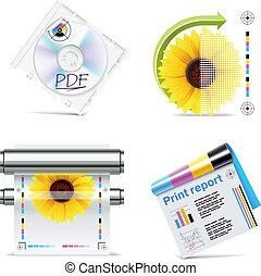 tienda, set., vector, 6, impresión, p.., icono