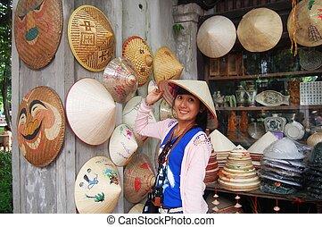 tienda, sombrero, vietnam, hanoi