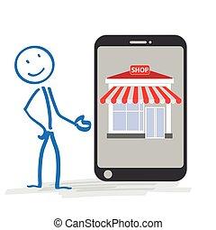 tienda, stickman, smartphone