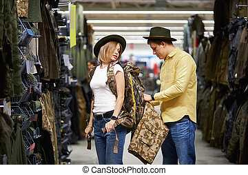 tienda, yendo, ropa de deporte, viaje, pareja