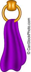 Tiene forma de anillo con tela púrpura