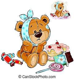 tiene, vector, diente dulce, ilustración, oso, ahora, teddy, dulces, dolor de muelas, comió, él, terreno, marrón