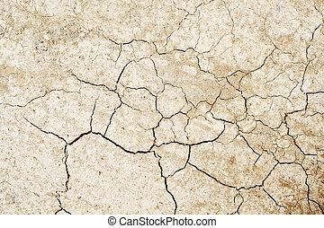tierra, agrietado, secado