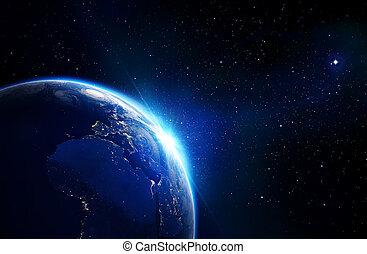 tierra, azul, -, horizonte, brillar