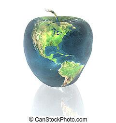 tierra, brillante, manzana, textura