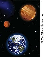 Tierra con Marte y Júpiter
