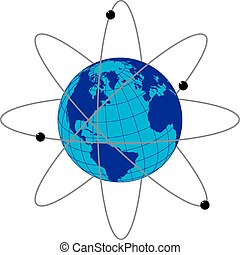 Tierra con satélites