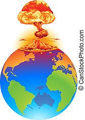 tierra, concepto, explosión, desastre