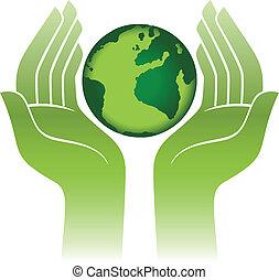 tierra de planeta, manos