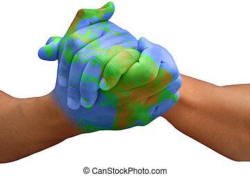 tierra de planeta, pintado, hombre, manos