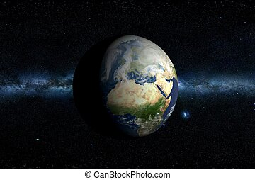 tierra de planeta, y, manera, lechoso