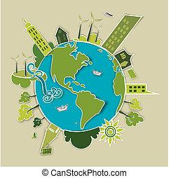 Tierra del concepto verde