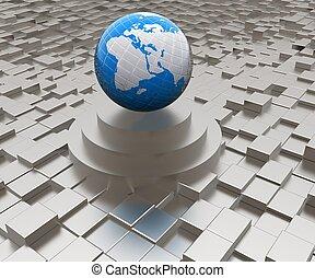 Tierra en el podio contra el fondo urbano abstracto