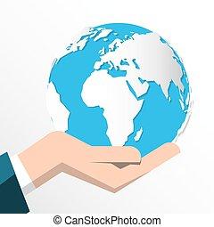 Tierra en manos humanas aisladas en el fondo blanco