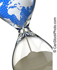 Tierra en reloj de arena. Conceptual destrucción de imagen del mundo.