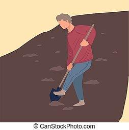 tierra, granjero, o, campo, cavar, plantación, agujeros, cultivar