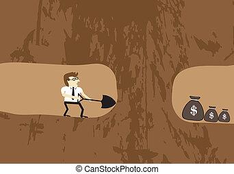 tierra, hallazgo, cavar, dinero