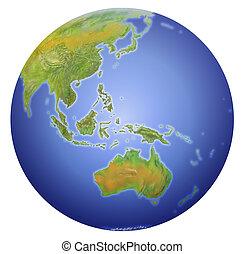 Tierra mostrando australia, nueva Zelanda, Asia y el polo sur