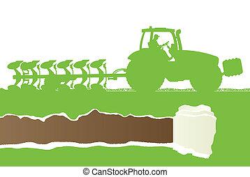 tierra, país, grano, cultivado, agricultura, arada, tractor
