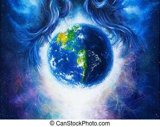 tierra, pintura, pelo, planeta, fondo., concept., original, rodeado, cósmico, lona., mujer, espacio, azul