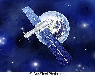 tierra, satélite, encima