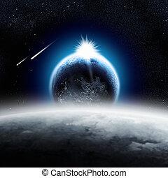 Tierra sobre la luna