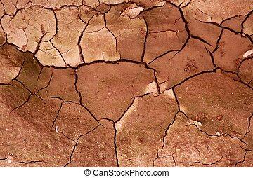 tierra, textura, secado, plano de fondo, arcilla, agrietado, rojo