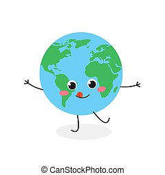 tierra, vector, divertido, ilustración, caricatura, planeta, carácter