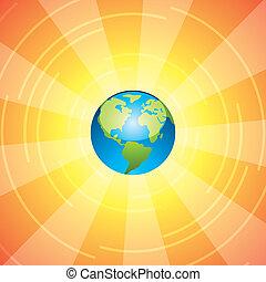 Tierra y rayos solares