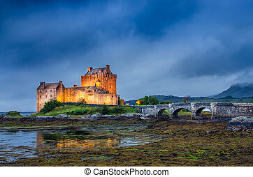 tierras altas, escocés, ocaso, donan, castillo, eilean, vista