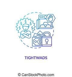 tightwads, icono, concepto