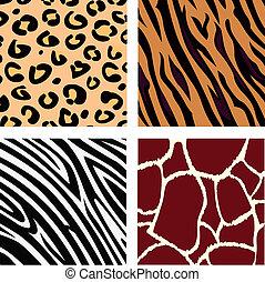 Tigre, cebra, leopardo, piel de jirafa