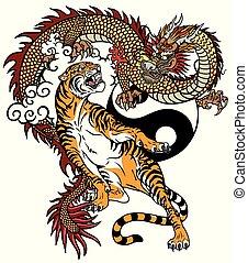 tigre, contra, dragón, tatuaje