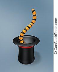 tigre, magia, cola, sombrero