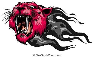tigre, mascota, vector, cabeza, imagen, bigotes
