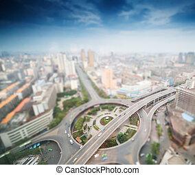 tilt-shift, ciudad, aéreo, efecto, vistas