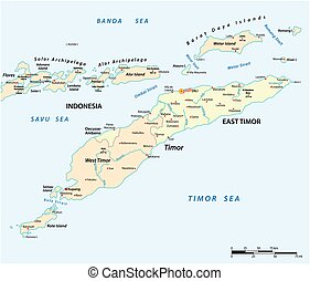 timor, este, mapa, isla, indonesia