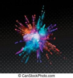 tinte, explosivo, polvo, nube, multicolor