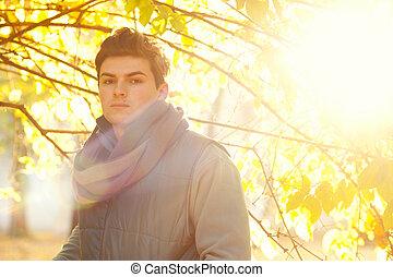 tipo, portrait., backlighting, guapo