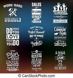 tipográfico, empresa / negocio, conjunto, motivación, quotes., vendimia