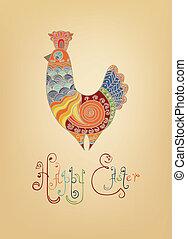 tipografía, brillante, gente, polluelo, adornado, pascua, tarjeta